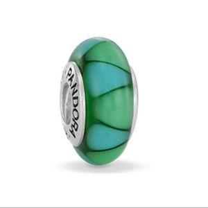 Four Pandora Blue Green Murano Glass Charms